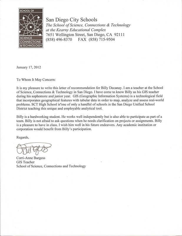 Letter Of Recommendation  Billy Dacanay Senior Website